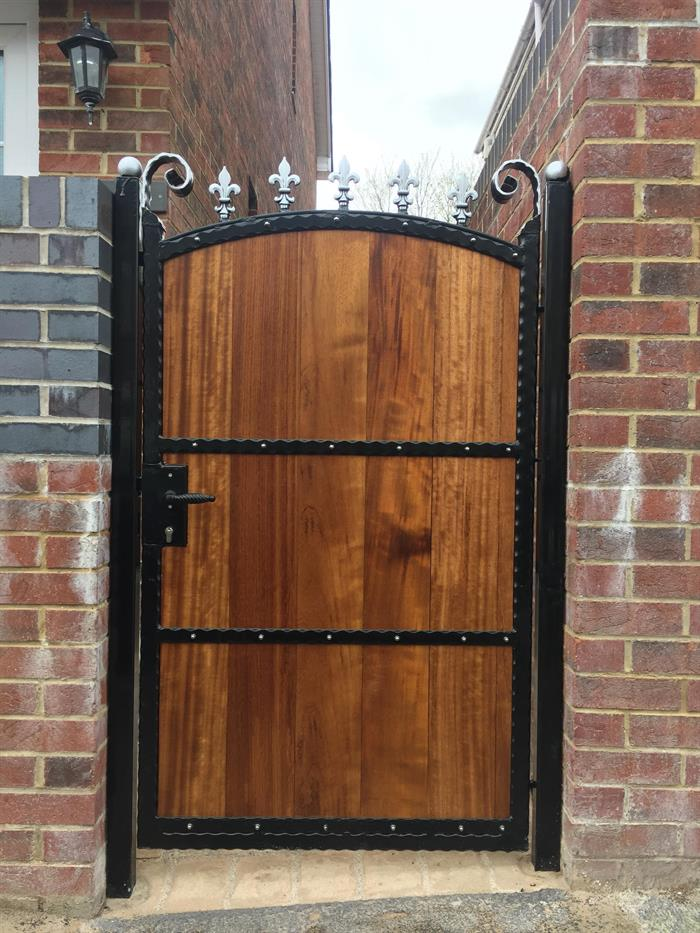 Aber Wrought Iron Steel Frame Wood Insert Gate